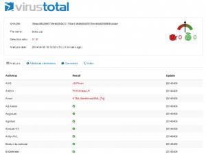 Captura parcial de la web VirusTotal durante un análisis de archivo malicioso